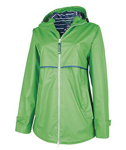 (Charles River Apparel Women's New Englander Waterproof Rain Jacket, Kelly Green/Stripe S)