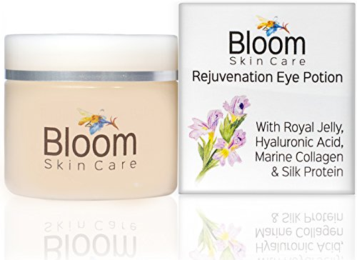 Bloom Skin Care Rejuvenating Eye Cream and Potion .5oz- Hyaluronic Acid and Royal Jelly to keep skin plump and hydrated - Anti Aging Wrinkle Moisturizer for Natural Firming Beauty for Women and Men