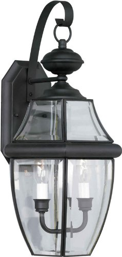 2 Light Beveled Glass (Forte Lighting 1301-02-04 Traditional 2-Light Exterior Wall Lantern, Black Finish with Clear Beveled Glass)
