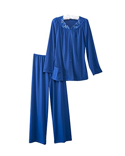 Shadowline Women's Petals Long Sleeve Pajama, Navy, 40