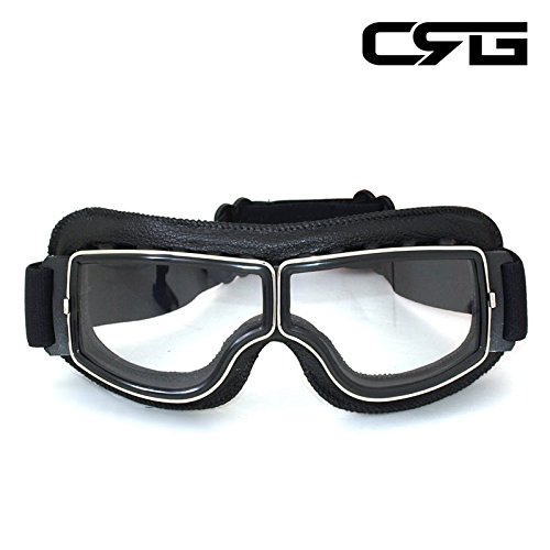 CRG Sports Vintage Aviator Pilot Style Motorcycle Cruiser Scooter Goggle T13 T13BCB - Parent