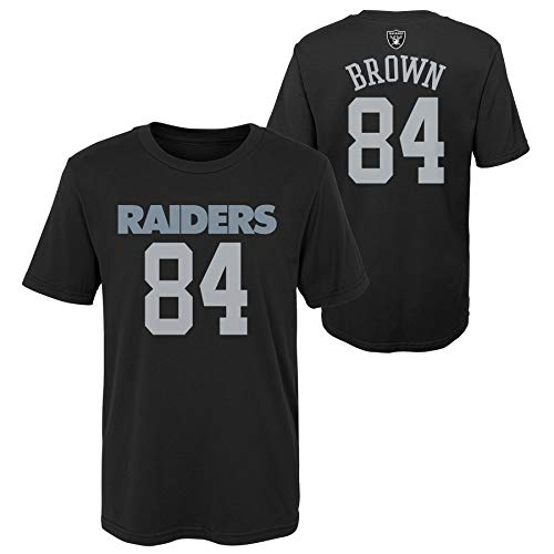 Outerstuff Antonio Brown #84 Oakland Raiders NFL Youth 8-20 Performance Mainliner Team Color Player Name and Number T-Shirt (Medium 10-12)