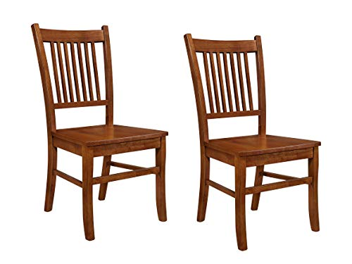 Marbrisa Slat Back Side Chairs Sienna Brown (Set of 2) (Chairs Oak Dining Side)