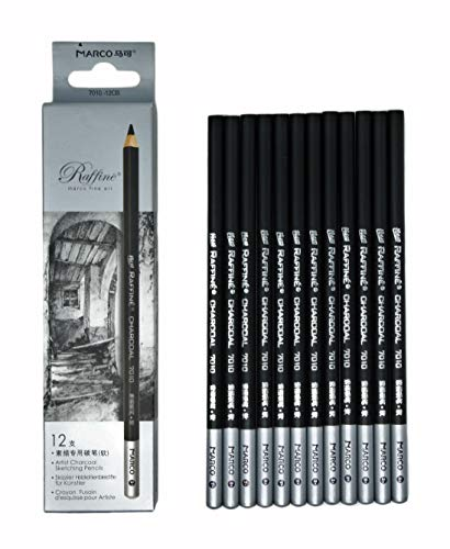 12pcs/Pack Artist Charcoal Pencils - Black Color Soft Medium Hard - White Pastel Color - Black Charcoal White Pastel Drawing Pencils (Hard)
