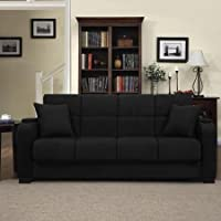 Tyler Microfiber Storage Arm Convert-a-couch Sofa Sleepr Bed, Black, Designed with a Storage Area and Cup Holder Built Into Each Arm