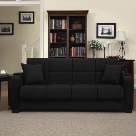 Tyler Microfiber Storage Arm Convert-a-couch Sofa Sleepr Bed, Black, Designed with a Storage Area and Cup Holder Built Into Each ()