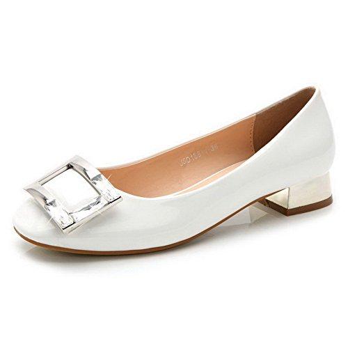 AalarDom Mujer Puntera Cuadrada Mini Tacón Material Suave Sólido De salón Blanco-Diamante de Imitación