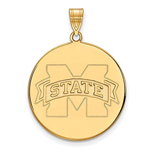 14k Yellow Gold LogoArt Official Licensed Collegiate Mississippi State University (MSU) XL Disc Pendant by Logo Art