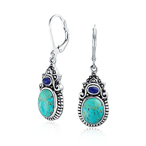 Southwestern Style Multi Stones Stabilized Turquoise Oval Lapis Leverback Dangle Earrings For Women 925 Sterling Silver ()