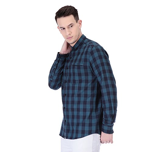 Street Junkies Urban Dapper Men #39;s Checkered Casual Blue, Black Shirt