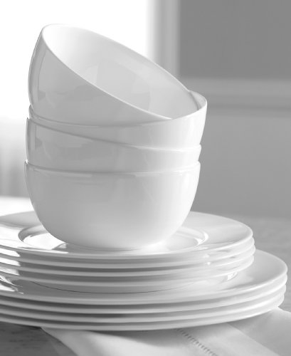 - Hotel Collection Dinnerware Bone China 12 Piece Set - White
