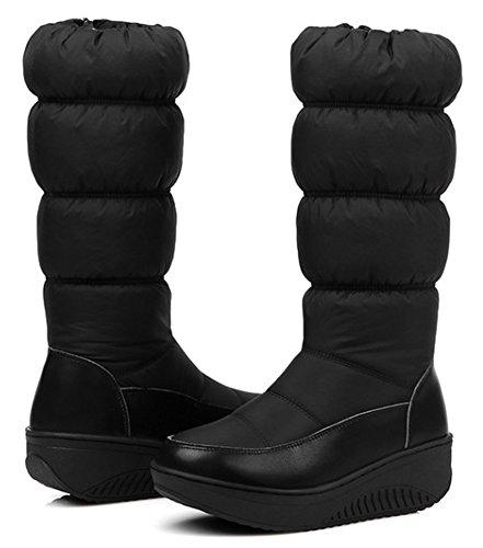 Idifu Plate-forme Confortable Femmes Mi-talon Compensée Zippée En Fausse Fourrure Doublée Mi-mollet Bottes De Neige Bas Bottines Noir
