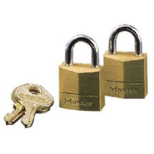 Master Lock Padlock, Solid Brass Lock, 3/4 in. Wide, 120T (Pack of 2-Keyed Alike)