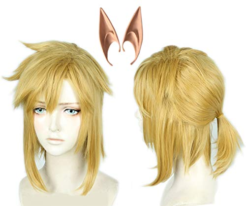 (Linfairy Short Blonde Wig Halloween Cosplay Wig For Men Braid with Two Elf)