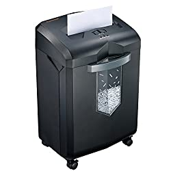 Bonsaii Evershred C149 C 18 Sheet Heavy Duty Cross Cut Paper Cd Credit Card Shredder With 6 Gallon Pullout Basket And 4 Casters 60 Minutes Running Time Black