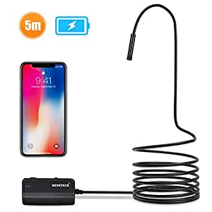 Depstech 1200P Semi-rigid Wireless Endoscope, 2.0 MP HD WiFi Borescope Inspection Camera,16 inch Focal Distance &1800mAh Battery Snake Camera for Android & IOS Smartphone Tablet - Black 16.5FT