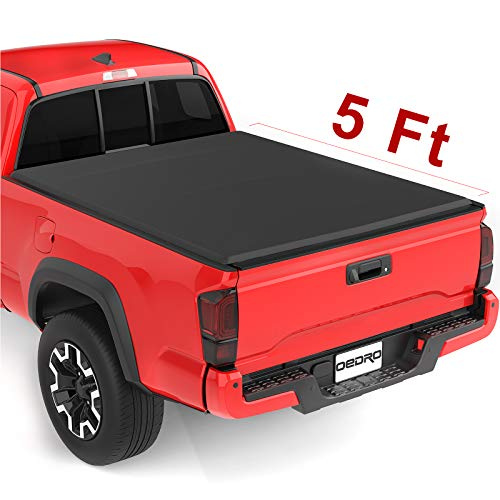 (oEdRo Upgraded Soft Tri-fold Truck Bed Tonneau Cover On Top Compatible for 2016 2017 2018 2019 Toyota Tacoma with 5ft Bed | Fleetside)