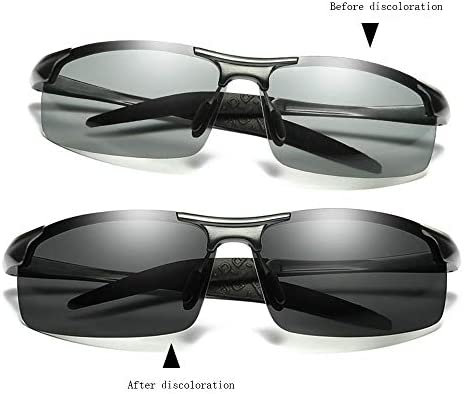 Empty Occhiali da Sole con scolorimento polarizzato, Occhiali da Guida sensibili alla Luce Diurna e Notturna per Uomo e Donna, Occhiali da Sole da Pesca,Grigio