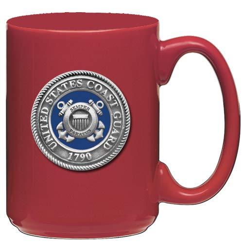 1pc, Pewter Coast Guard Coffee Mug, Red