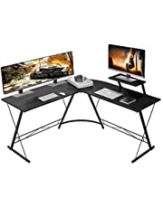 """MiniDeer L-Shaped Desk 50.8"""" Computer Corner Desk, Home Gaming Desk, Office Writing Workstation with Large Monitor Stand, Space-Saving, Easy to Assemble"""