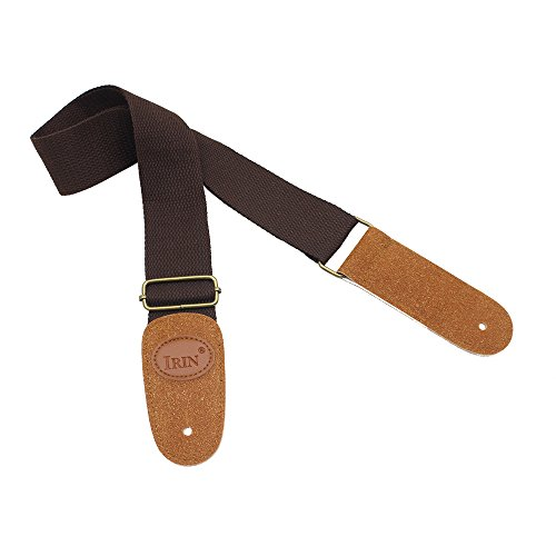 1Pc (Coffee) Adjustable Belt Woven Cotton Guitar Strap with Leather Ends for Electric Acoustic Folk Guitars Comfortable and Durable