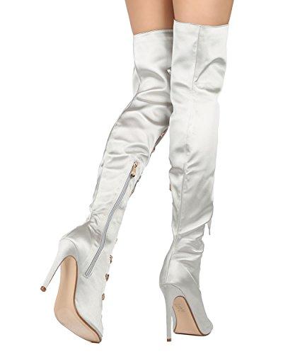 Bota Caña Alta De Tacón De Mujer De Las Mujeres Del Tobillo De Cape Robbin - Elegante, Fiesta, Traje - Gf71 De Gray