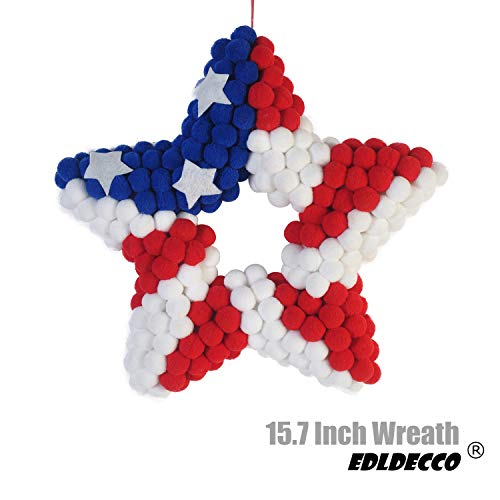EDLDECCO 15.7 Inch Front Door Wreath Patriotic American Flag USA Stars & Stripes Wreath in Red White & Blue for 4th of July Memorial Day Veterans Day Wall Porch Home Hanging Decoration (Star)