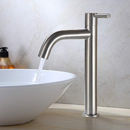 redOOY Bathroom Sink Taps Taps Faucet Basin Faucet Stainless Steel Faucet_Bathtub Faucet Single Cold 304 Stainless Steel Faucet Bathroom Vanity Basin