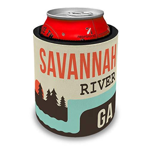 NEONBLOND USA Rivers Savannah River - Georgia Slap Can Cooler Insulator Sleeve (Best Bbq Savannah Georgia)