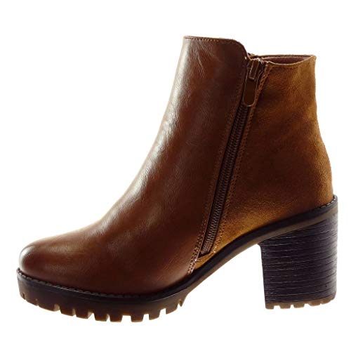 Fashion Biker high 7 5 Zip Angkorly Ankle bi Shoes cm Camel Material Women's Heel Booty Block Boots PWOW5R