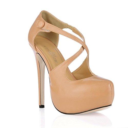 Rubber Premium para Summer 14CM Best Toe Sole 4U® Straps Sandals tacón de PU mujer Heel Zapatos Stiletto Spring Round alto wvfv81Xq
