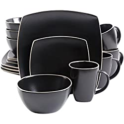Gibson Home 102261.16RM Soho Lounge Matte 16 Piece Dinnerware Set, Black