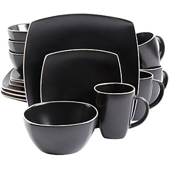 Amazon.com: Gibson Home Paradiso 16-Piece Dinnerware Set in Black ...