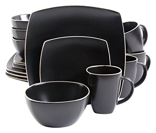 Gibson Home Soho Lounge Matte 16 Piece Dinnerware Set, Black (Black Plates Square Dinnerware)