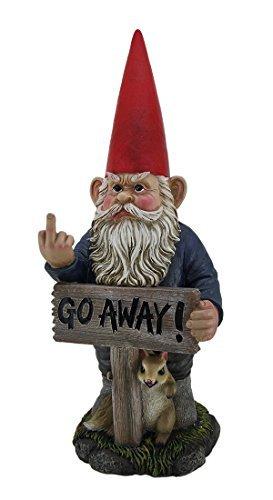 DWK Take A Hike Go Away Garden Gnome Un-Welcome Garden Statue