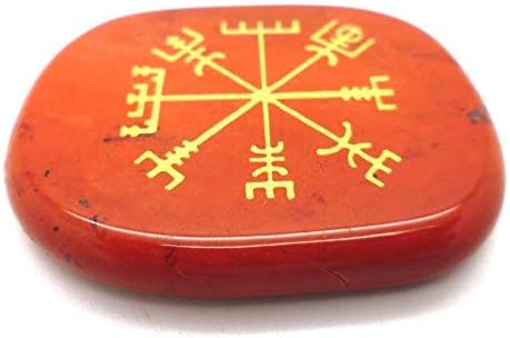 Pierre Chakra Pierre Naturelle Livraison Gratuit avec Suivi Tanglz Vegvisir Boussole Rune Viking Nordique en Jaspe Rouge