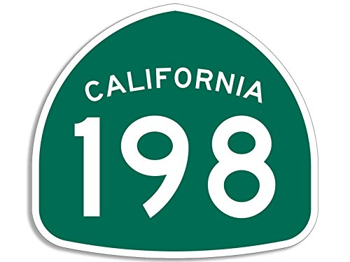 GREEN State Route 198 Sign Shaped Sticker (ca highway - 198 Ca