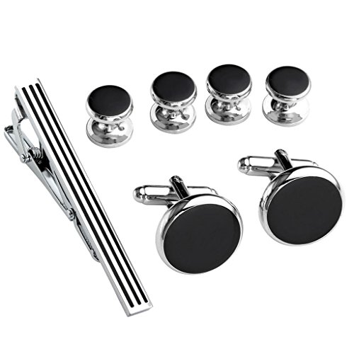 PiercingJ 7pcs Stainless Steel Exquisite GQ Classic Tie Bar Clip & Cufflinks & Shirt Studs Set,2.3 inches