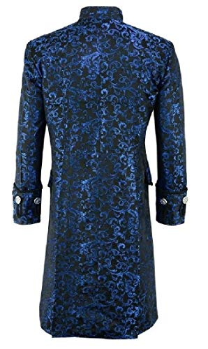 Sweetmini Hommes Goth Steampunk Outwear Simple Bouton Trench Manteau Mi-Long - Bleu - X-Small