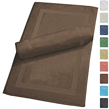 Luxury Hotel and Spa 100% Turkish Cotton Banded Panel Bath Mat Set 900gsm! 20 x34  (Chocolate, 2 Pack)