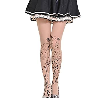 Bullidea Stockings Women Tattoo Tights Ladies Transparent Pantyhose Printed Floral ButterflyThigh High Elastic Socks Silk Sheer