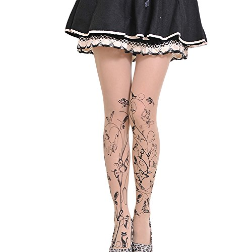 Qingsun Lady Girls Silk Pantyhose Butterflies Dancing Tattoo Tights Leggings