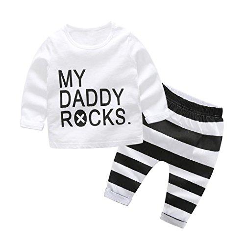 Raptop Newborn Baby Boys Girls 2Pcs Clothes Letter Print Tops Shirt +PantsOutfits Set White(2), 6-12 (Letter White Six Sets)