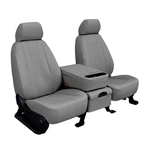 Third Row SEAT: ShearComfort Custom Imitation Leather Seat Covers for Saturn Outlook (2007-2009) in Light Gray for 60/40 Split Back and Bottom w/Headrests
