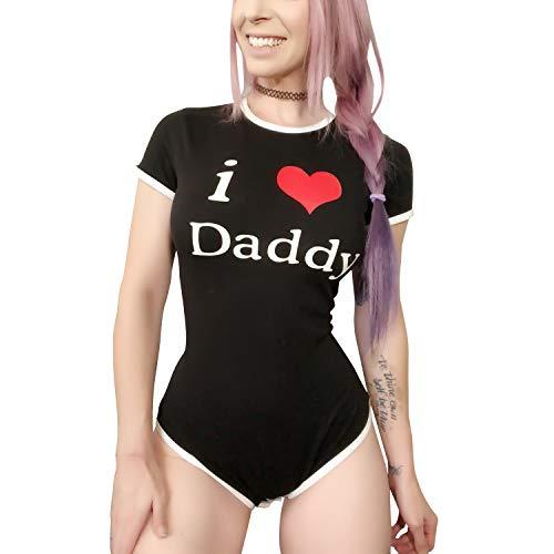 Littleforbig Adult Baby Onesie Diaper Lover (ABDL) Button Crotch Romper Onesie Pajamas - I Love Daddy Pattern (XXXX-Large, Black) -