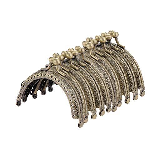 circular Metal FENICAL Retro Buckles Locks Box Coin DIY Purse Brown Kiss Bag 10PCS Hinged Bronze Handbag 8 Flower 5CM Semi Clasp Craft Embossed Frame rIzIvpw7q