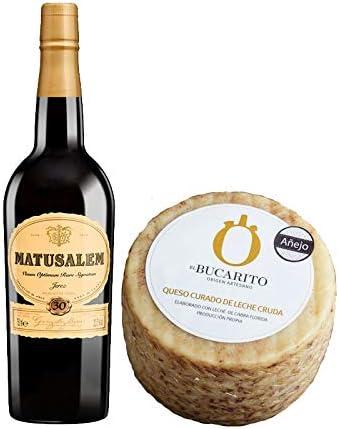 Pack de Vino Oloroso Dulce Matusalem y Queso Curado de Leche Cruda Añejo - Vino de 75 cl y Queso de 800 g aprox - Mezclanza