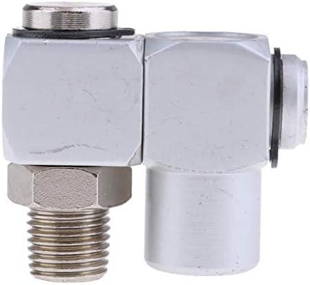 FLAMEER エアホース アダプター 1/4インチ360度回転 ホース継手 アルミ ユニバーサル