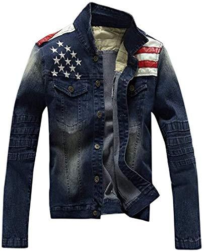BeiBaby Men Button Down Casual Long Sleeve American Flag Print Denim Jacket Jean Coat