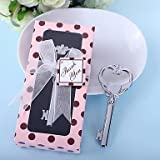BST Wedding Favors Key to My Heart Bottle Opener in Pink Polka Dot Gift Box
